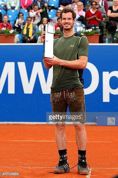 Andy Murray of Great Britain poses in a traditional bavarain Lederhosen after winning the finale match between Andy Murray of Great Britain and...