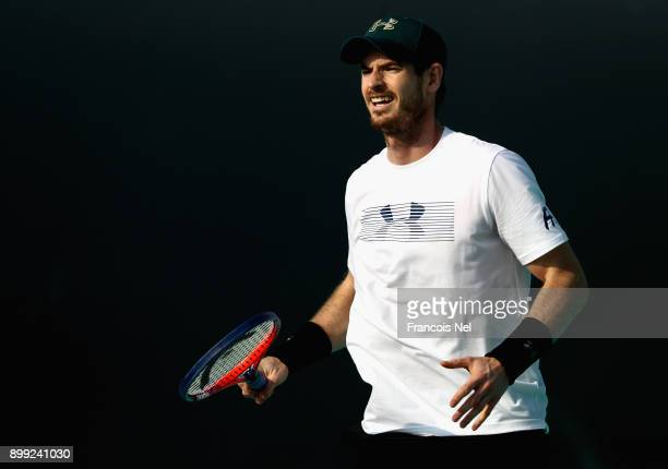 Andy Murray of Great Britain practice during the Mubadala World Tennis Championship at International Tennis Centre Zayed Sports City on December 28...