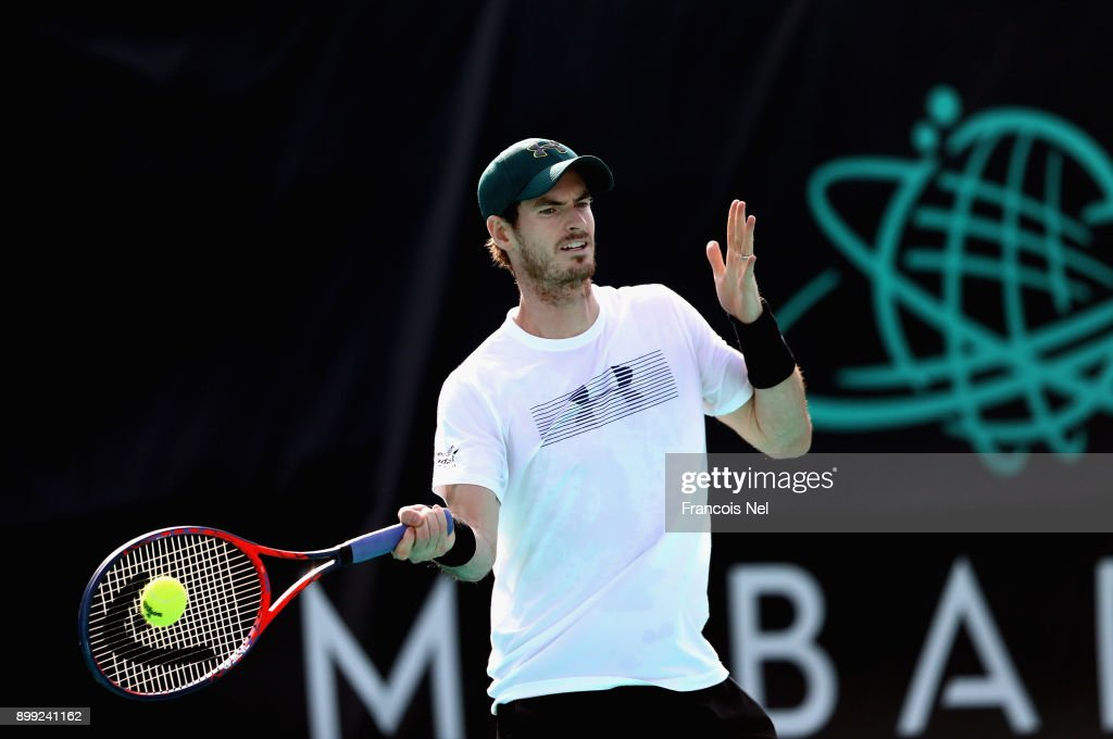 Andy Murray of Great Britain practice during the Mubadala World Tennis Championship at International Tennis Centre Zayed Sports City on December 28, 2017 in Abu Dhabi, United Arab Emirates.