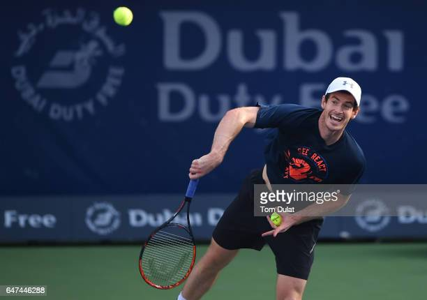 Andy Murray of Great Britain practices ahead of his semi final match against Lucas Pouille of France on day six of the ATP Dubai Duty Free Tennis...