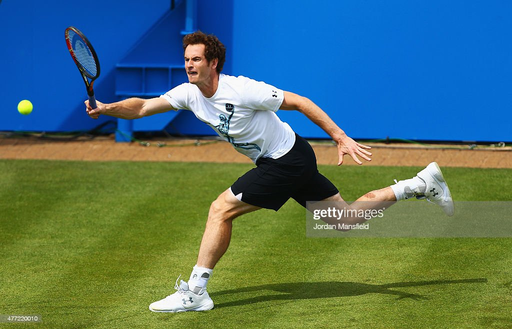 Andy Murray of Great Britain practices during day one of the Aegon Championships at Queen's Club on June 15, 2015 in London, England.