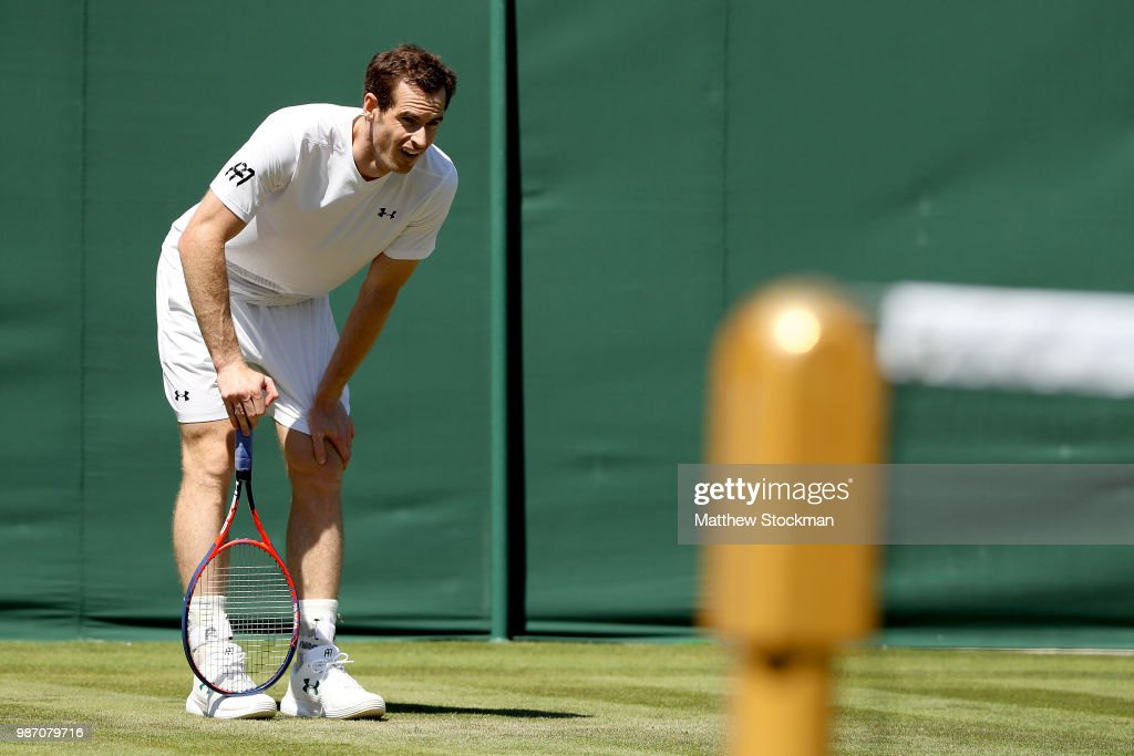 Andy Murray of Great Britain practices on court during training for the Wimbledon Lawn Tennis Championships at the All England Lawn Tennis and Croquet Club at Wimbledon on June 29, 2018 in London, England.