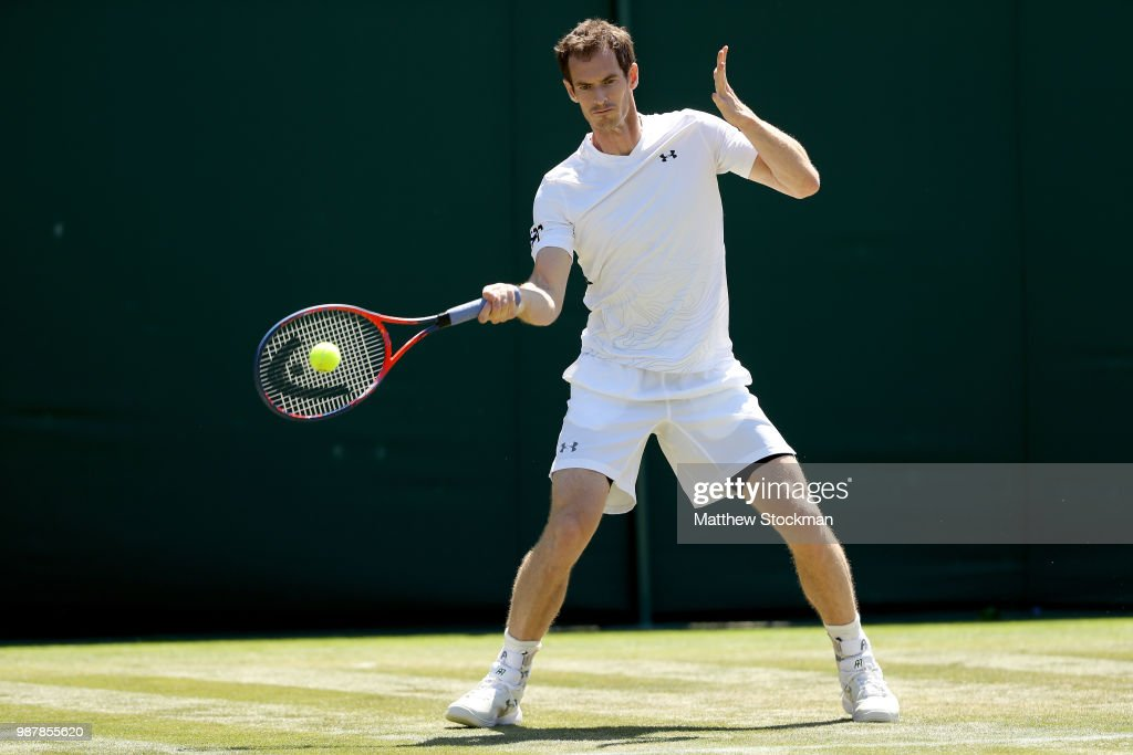Andy Murray of Great Britain practices on court during training for the Wimbledon Lawn Tennis Championships at the All England Lawn Tennis and Croquet Club at Wimbledon on June 30, 2018 in London, England.