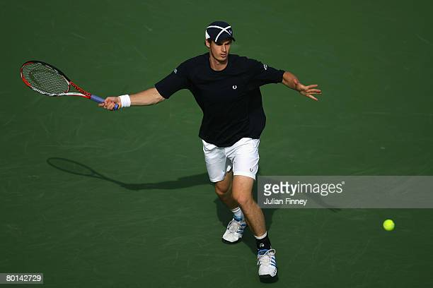 Andy Murray of Great Britain prepares for a forehand against Nikolay Davydenko of Russia during the ATP Barclays Dubai Tennis Championships at the...