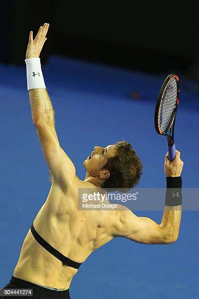 Andy Murray of Great Britain prepares to smash a ball during a practice session ahead of the 2016 Australian Open at Melbourne Park on January 11...