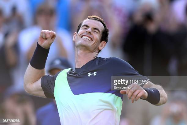 Andy Murray of Great Britain punches the air after winning his first round match against Stan Wawrinka of Switzerland on day four of the Nature...