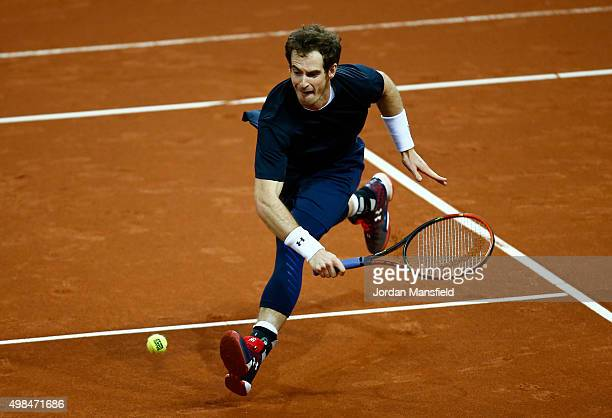 Andy Murray of Great Britain reaches for a backhand during a practice session at Flanders Expo on November 23, 2015 in Ghent, Belgium.