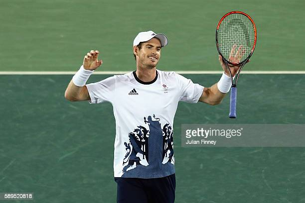 Andy Murray of Great Britain reacts after defeating Juan Martin Del Potro of Argentina to win the gold medal in Men's Singles on Day 9 of the Rio...