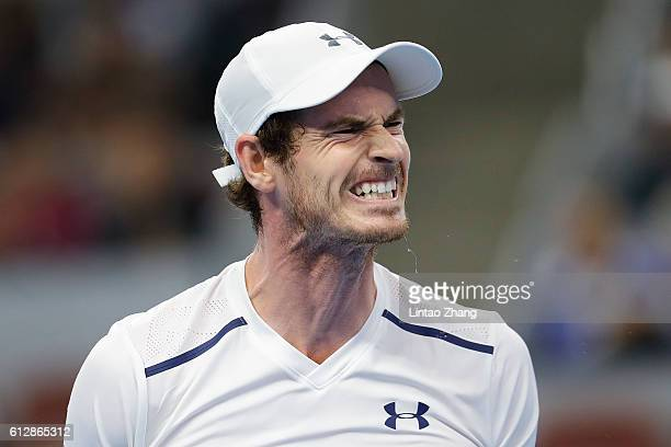 Andy Murray of Great Britain reacts after losing the point against Andrey Kuznetsov of Russia during the Men's singles second round match on day five...