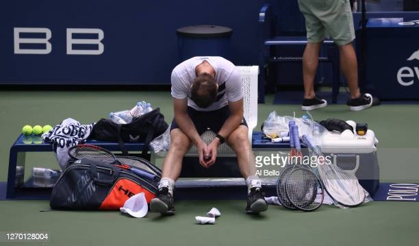 Andy Murray of Great Britain reacts after winning his Men's Singles first round match against Yoshihito Nishioka of Japan on Day Two of the 2020 US...