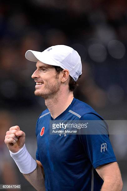 Andy Murray of Great Britain reacts after winning the Men's second round match against Frenando Verdacso of Spain on day three of the BNP Paribas...
