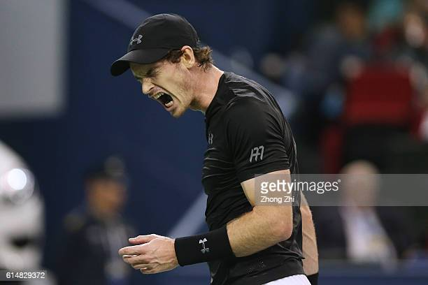 Andy Murray of Great Britain reacts against Gilles Simon of France during the Men's singles semifinal match on day 7 of Shanghai Rolex Masters at Qi...