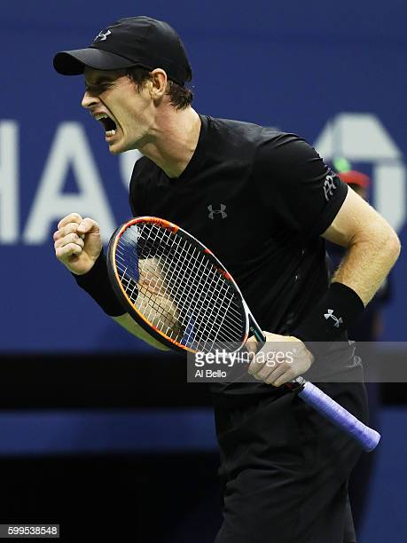 Andy Murray of Great Britain reacts against Grigor Dimitrov of Bulgaria during his fourth round Men's Singles match on Day Eight of the 2016 US Open...