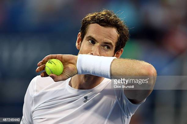 Andy Murray of Great Britain reacts against Kevin Anderson of South Africa during their Men's Singles Fourth Round match on Day Eight of the 2015 US...