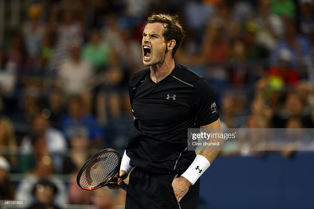 Andy Murray of Great Britain reacts against Kevin Anderson of South Africa during their Men's Singles Fourth Round match on Day Eight of the 2015 US Open at the USTA Billie Jean King National Tennis Center on September 7, 2015 in the Flushing neighborhood of the Queens borough of New York City.
