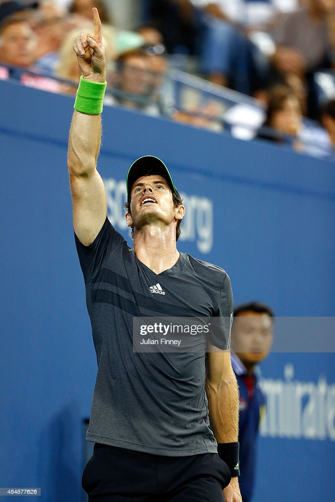 Andy Murray of Great Britain reacts against Novak Djokovic of Serbia during their men's singles quarterfinal match on Day Ten of the 2014 US Open at the USTA Billie Jean King National Tennis Center on September 3, 2014 in the Flushing neighborhood of the Queens borough of New York City.