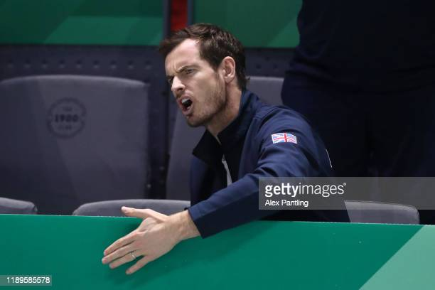 Andy Murray of Great Britain reacts as he watches Dan Evans of Great Britain play in his semi final singles match against Rafael Nadal of Spain...