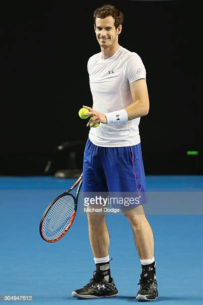 Andy Murray of Great Britain reacts during a practice session ahead of the 2016 Australian Open at Melbourne Park on January 14 2016 in Melbourne...