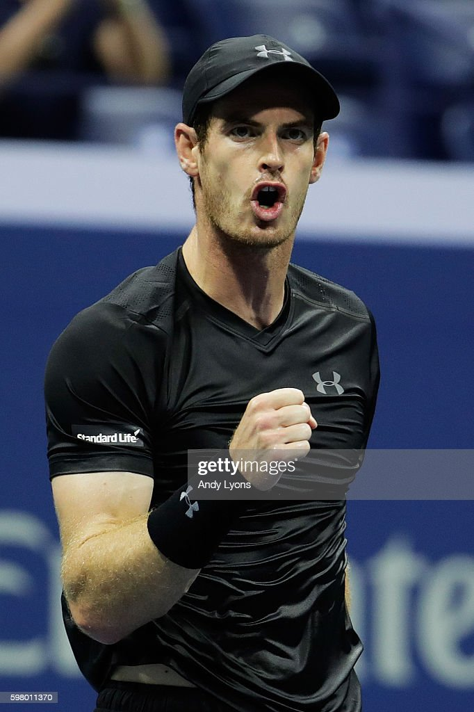 Andy Murray of Great Britain reacts during his first round Men's Singles match against Lukas Rosol of the Czech Republic on Day Two of the 2016 US Open at the USTA Billie Jean King National Tennis Center on August 30, 2016 in the Flushing neighborhood of the Queens borough of New York City.