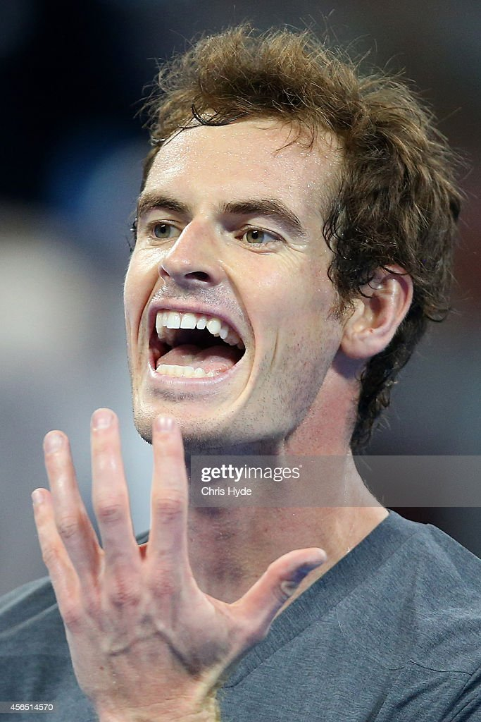 Andy Murray of Great Britain reacts during his match against Pablo Cuevas of Uruguay during day six of of the China Open at the National Tennis Center on October 2, 2014 in Beijing, China.