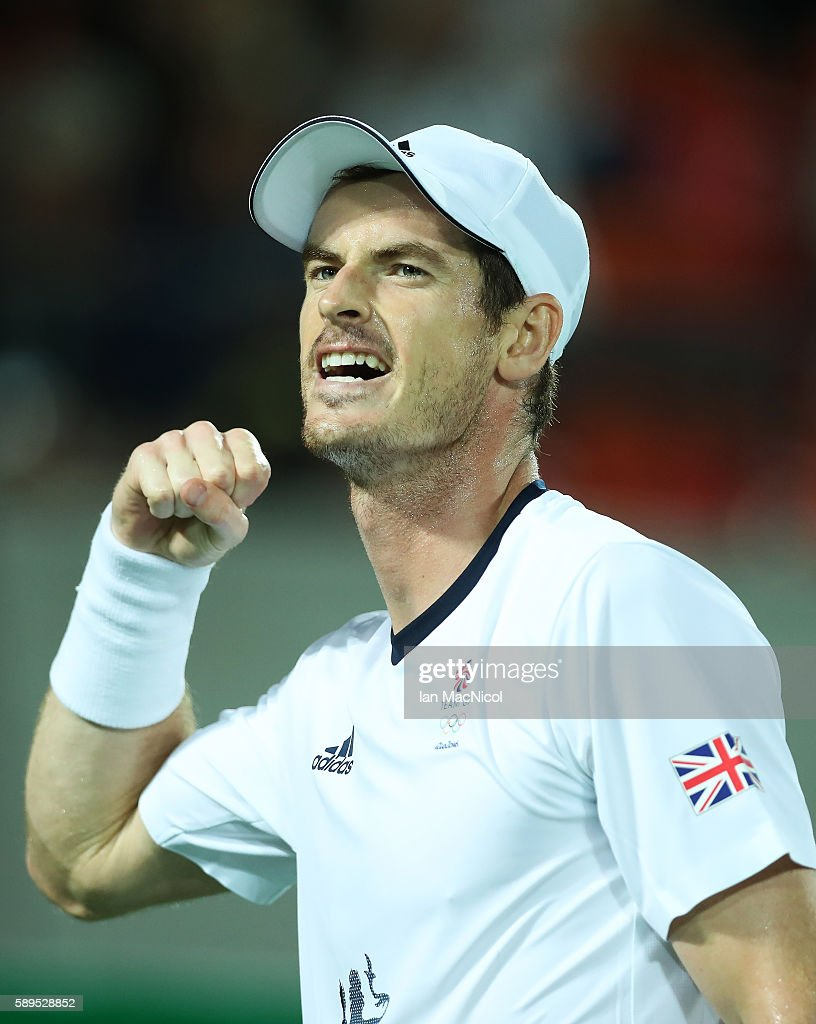 Andy Murray of Great Britain reacts during his match with Juan Martin del Potro of Argentina in the Men's singles final at Olympic Tennis Centre on August 14, 2016 in Rio de Janeiro, Brazil.