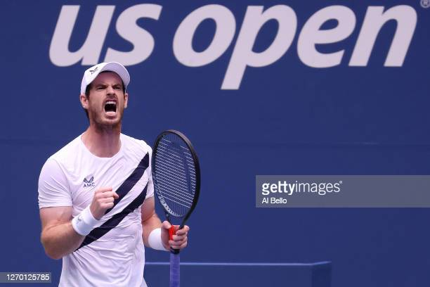Andy Murray of Great Britain reacts during his Men's Singles first round match against Yoshihito Nishioka of Japan on Day Two of the 2020 US Open at...