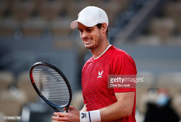 Andy Murray of Great Britain reacts during his Men's Singles first round match against Stan Wawrinka of Switzerland during day one of the 2020 French...