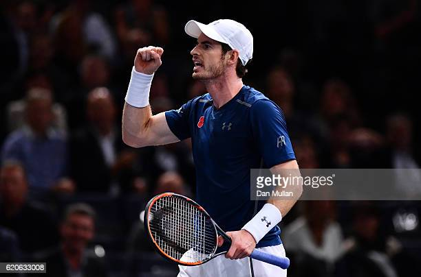 Andy Murray of Great Britain reacts during his Mens Singles second round match against Fernando Verdasco of Spain on day three of the BNP Paribas...