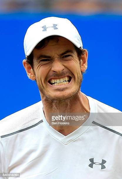 Andy Murray of Great Britain reacts during his quarter final match against Kyle Edmund of Great Britain on day five of The Aegon Championships at The...