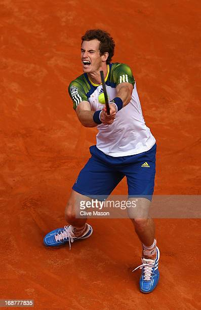 Andy Murray of Great Britain reacts during his second round match against Marcel Granollers of Spain on day four of the Internazionali BNL d'Italia...