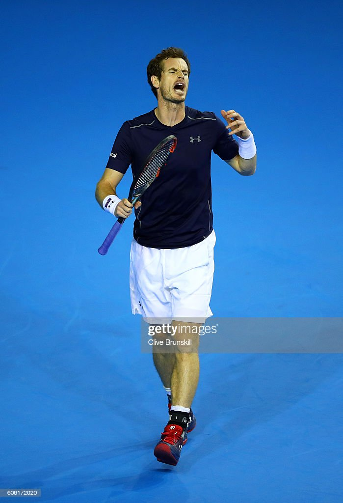 Andy Murray of Great Britain reacts during his singles match against Juan Martin del Potro of Argentina during day one of the Davis Cup Semi Final between Great Britain and Argentina at Emirates Arena on September 16, 2016 in Glasgow, Scotland.
