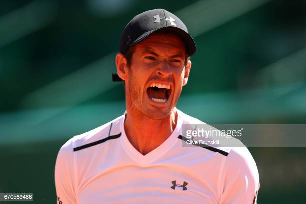 Andy Murray of Great Britain reacts during his third round match against Albert RamosVinolas of Spain on day 5 of the Monte Carlo Rolex Masters...