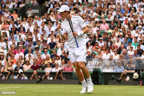 Andy Murray of Great Britain reacts during the Gentlemen's Singles first round match against Alexander Bublik of Kazakhstan on day one of the...
