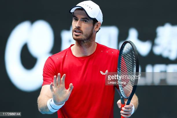 Andy Murray of Great Britain reacts during the Men's singles first round match against Matteo Berrettini of Italy of 2019 China Open at the China...