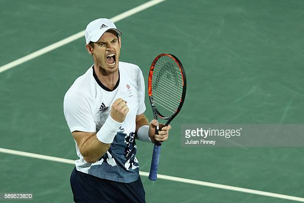 Andy Murray of Great Britain reacts during the men's singles gold medal match against Juan Martin Del Potro of Argentina on Day 9 of the Rio 2016...