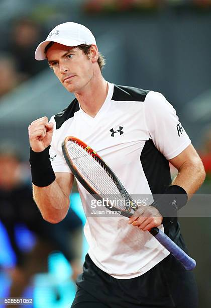 Andy Murray of Great Britain reacts during the Men's Singles Quarter Final match against Tomas Berdych of the Czech Republic during day seven of the...
