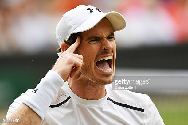 Andy Murray of Great Britain reacts during the Men's Singles Quarter Finals match against JoWilfried Tsonga of France on day nine of the Wimbledon...