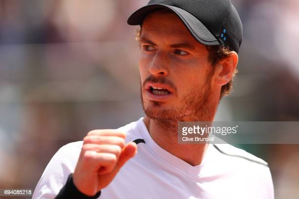 Andy Murray of Great Britain reacts during the men's singles semi final match against Stan Wawrinka of Switzerland on day thirteen of the 2017 French...