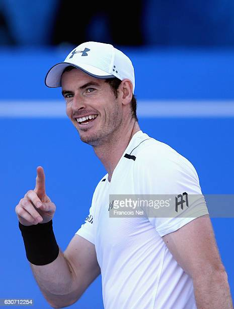 Andy Murray of Great Britain reacts during the playoff match for third place of the Mubadala World Tennis Championship at Zayed Sport City on...
