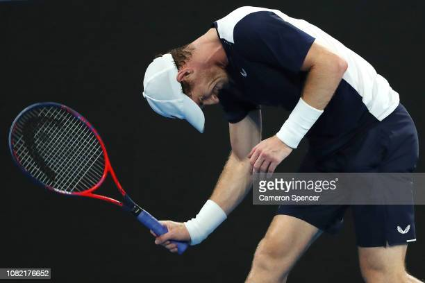Andy Murray of Great Britain reacts in his first round match against Roberto Bautista Agut of Spain during day one of the 2019 Australian Open at...