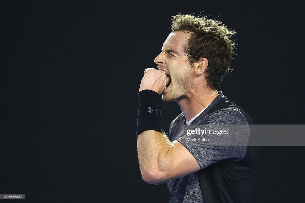Andy Murray of Great Britain reacts in his fourth round match against Bernard Tomic of Australia during day eight of the 2016 Australian Open at Melbourne Park on January 25, 2016 in Melbourne, Australia.