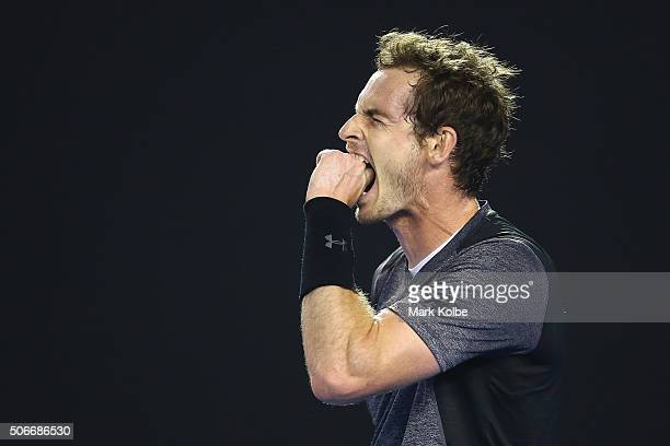 Andy Murray of Great Britain reacts in his fourth round match against Bernard Tomic of Australia during day eight of the 2016 Australian Open at...