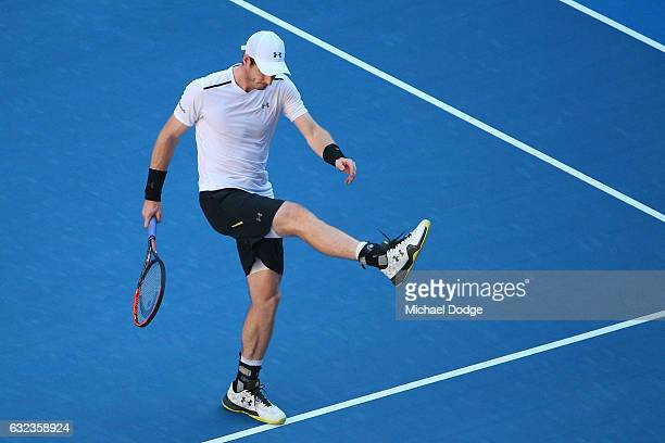 Andy Murray of Great Britain reacts in his fourth round match against Mischa Zverev of Germany on day seven of the 2017 Australian Open at Melbourne...