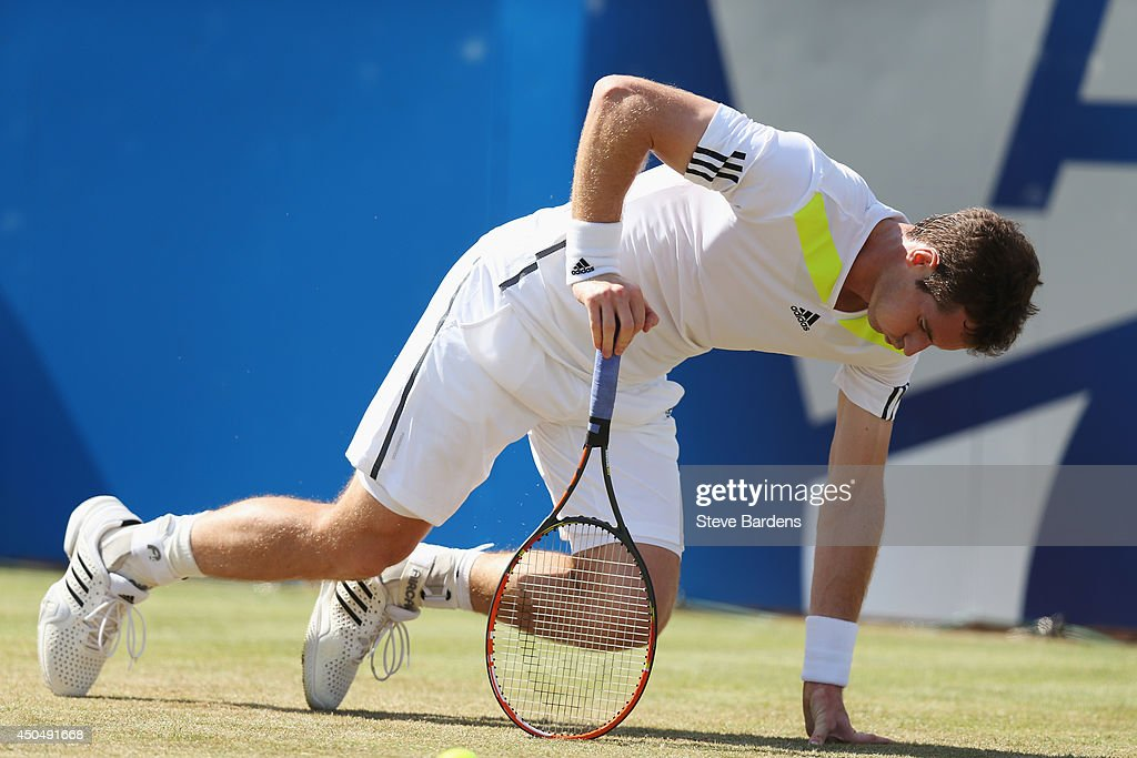 Andy Murray of Great Britain reacts in his match against Radek Stepanek of the Czech Republic during their Men's Singles on day four of the Aegon Championships at Queens Club on June 12, 2014 in London, England.