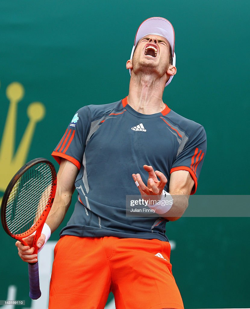 Andy Murray of Great Britain reacts in his match against Tomas Berdych of Czech Republicduring day six of the ATP Monte Carlo Masters on April 20, 2012 in Monte-Carlo, Monaco.