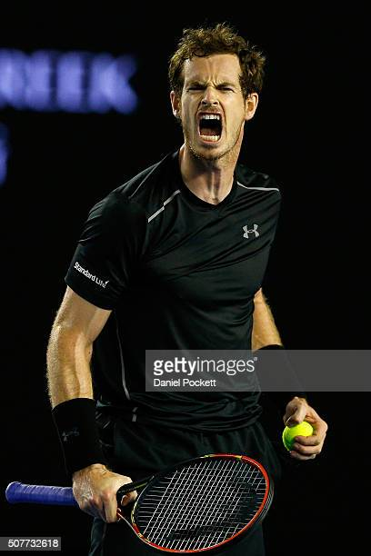 Andy Murray of Great Britain reacts in his Men's Singles Final match against Novak Djokovic of Serbia during day 14 of the 2016 Australian Open at...