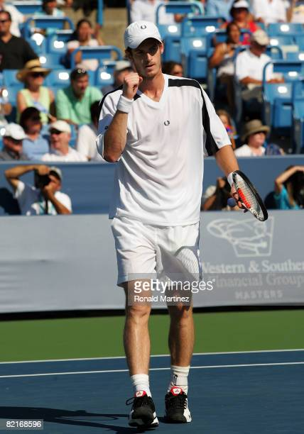 Andy Murray of Great Britain reacts in the final match against Novak Djokovic of Serbia during the Western Southern Financial Group Masters on August...