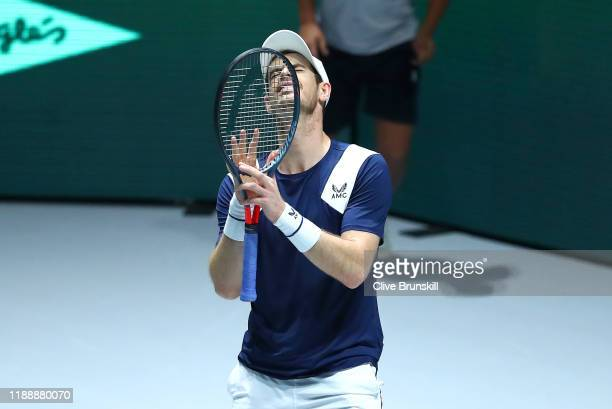 Andy Murray of Great Britain reacts to a line call during his Davis Cup Group Stage match against Tallon Griekspoor of the Netherlands during Day...