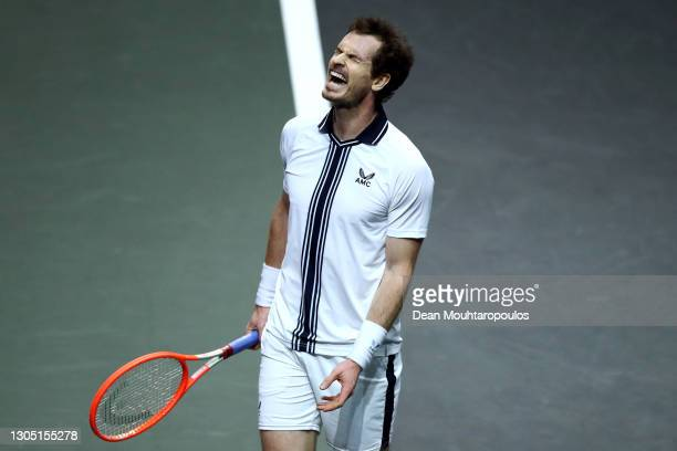 Andy Murray of Great Britain reacts to a missed point in his match against Andrey Rublev of Russia during Day 3 of the 48th ABN AMRO World Tennis...