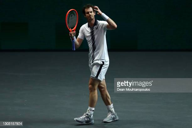 Andy Murray of Great Britain reacts to a missed point in his match against Andrey Rublev of Russiaduring Day 3 of the 48th ABN AMRO World Tennis...